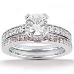 14K Gold Unique Diamond Engagement Ring Set 0.76ct