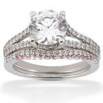 14K Gold Unique Diamond Engagement Ring Set 0.84ct