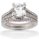 14K Gold Unique Diamond Engagement Ring Set 0.92ct