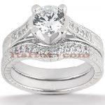 14K Gold Unique Diamond Engagement Ring Set 0.93ct
