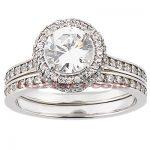 14K Gold Unique Diamond Engagement Ring Set 1.18ct