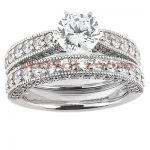 14K Gold Unique Diamond Engagement Ring Set 1.32ct