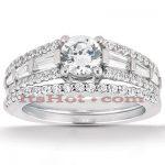 14K Gold Unique Diamond Engagement Ring Set 1.37ct