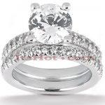 14K Gold Unique Diamond Engagement Ring Set 2.15ct