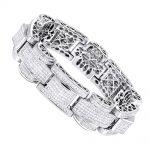 14K Gold Unique Princess Cut Diamond Bracelet for Men 30ct by Luxurman