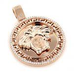 14K Gold Versace Style Diamond Pendant Medusa Medallion 0.62ct