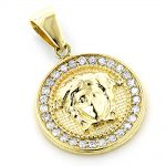14K Gold Vintage Versace Style Diamond Pendant Medusa Medallion 2ct