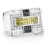 14K Gold White Yellow Black Diamond Ring 1.65ct