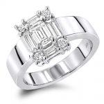 14k Gold Womens Baguette & Emerald Diamond Engagement Ring 5 Carat Look