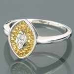 14K Gold Womens Marquise Diamond Fashion Ring 0.63ct