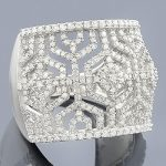 14K Gold Womens Pave Diamond Ring 1.35ct