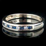 Thin 14K Gold Womens White Blue Diamond Ring 0.15ct