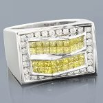 14K Mens White Yellow Diamond Ring 2.05ct