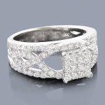14K Pave Diamond Engagement Ring 1.39ct