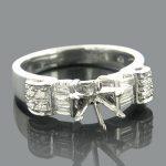 14K Round Baguette Diamond Engagement Ring Setting 0.58