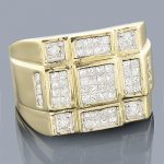 14K Round Princess Cut Diamond Ring 1.36ct