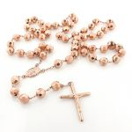 14K Solid Rose Gold Rosary Beads Necklace 8mm 30in