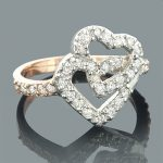14K White Rose Gold Diamond Heart Ring 0.55ct
