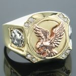 14K White Yellow Rose Gold Diamond Mens Eagle Ring 0.10
