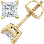 14K Yellow Gold Princess-Cut Diamond Stud Earrings 1.5c