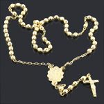 14K Yellow Gold Rosary beads necklace 10 3/4 in.