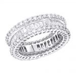 18K Designer Diamond Eternity Ring Baguette Round 4.38