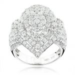 18K Gold Designer Diamond Drop Ring for Women 3.75ct
