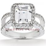 Halo 18K Gold Diamond Engagement Ring Mounting 0.66ct