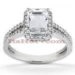 Halo 18K Gold Diamond Engagement Ring Mounting 0.71ct