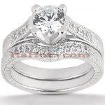 18K Gold Diamond Engagement Ring Mounting Set 0.50ct