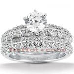 18K Gold Diamond Engagement Ring Set 1.16ct
