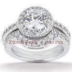 18K Gold Diamond Engagement Ring Set 1.17ct