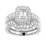 18K Gold Diamond Engagement Ring Set 1.28ct