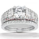 18K Gold Diamond Engagement Ring Set 2.12ct