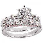 18K Gold Diamond Engagement Ring Set 2.22ct