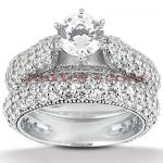 18K Gold Diamond Engagement Ring Set 2.70ct