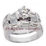 18K Gold Diamond Engagement Ring Set 3.54ct