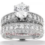 18K Gold Diamond Engagement Ring Set 3.69ct