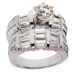 18K Gold Diamond Engagement Ring Set 5.09ct