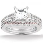 18K Gold Diamond Engagement Ring Setting Set 0.54ct