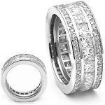 18K Gold Round & Princess Diamond Eternity Rings 5 Carat Anniversary Band