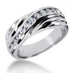 18K Gold Men's Diamond Wedding Ring 0.55ct