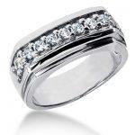 18K Gold Men's Diamond Wedding Ring 0.66ct
