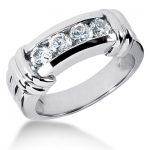 18K Gold Men's Diamond Wedding Ring 1ct
