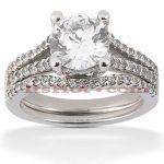 18K Gold Round Diamond Engagement Ring Set 1.18ct