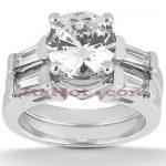 18K Gold Round Diamond Engagement Ring Set 1.23ct