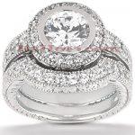 18K Gold Round Diamond Engagement Ring Set 1.24ct