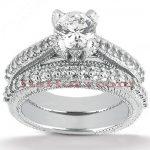 18K Gold Round Diamond Engagement Ring Set 1.39ct