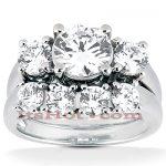 18K Gold Round Diamond Engagement Ring Set 1.49ct
