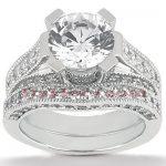 18K Gold Round Diamond Engagement Ring Set 1.50ct